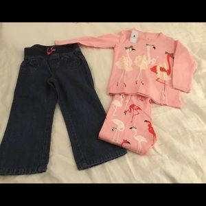 Heart shape pocket jeans and 100% cotton pajamas.
